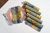 ShalinIndiaダイニングテーブルナプキンインド綿ファブリックマルチカラー幾何パターン200スレッドカウント 22 x 22 Inches MPN-TNP06-1405C-P100-22x22
