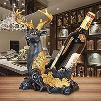 ワインラックの装飾ヨーロッパの創造的なワインキャビネット樹脂の工芸品の装飾ラグジュアリーファッションホームテーブルワインキャビネットのディスプレイワインボトルラック屋内のデスクトップディスプレイスタンド (Design : Deer-2)