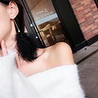 TKHNE Xian Xian Qi 超ホワイトイヤリング ロングパラグラフ ファーボールピアス ラブリーエレガント プラッシュフェザー ソフトシスター