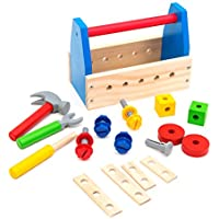 neowows take-alongツールキット木製Building Construction Toys for Kids 3 and Up