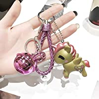 Yoshilimen 特別な84のスタイルは、スーパーかわいい虹の馬キーリングユニコーンキーホルダーガールギフトバッグペンダントのカップルのキーホルダーチェーンのためのバッグのための電話用(None Golden unicorn + rose red rope + rose red bell single opp bag package)
