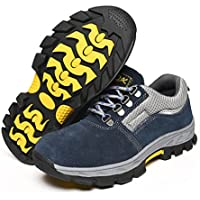 yotijar Mens Safety Shoes Steel Toe Work Boots Breathable Lightweight Wearproof