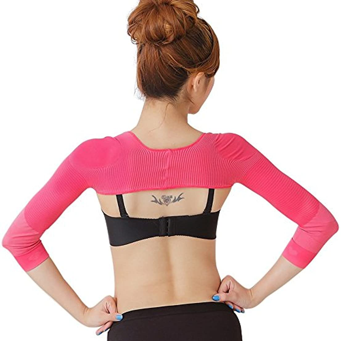 ブリーフケース一回セッティングSmato 二の腕シェイプアップ 背筋サポート 猫背矯正 肩サポーター 補正下着 肩こり 解消グッズ 肩甲骨シェイパー 姿勢 インナー 女性用 レディース (M, ピンク)
