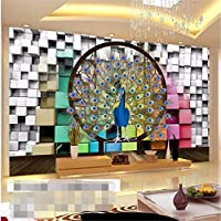Wuyyii 大カスタム3Dの壁紙の背景孔雀のリビングルームの寝室のグリッドリリーフ壁画孔雀の壁紙-450X300Cm