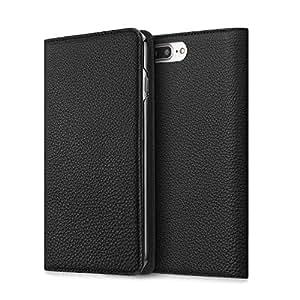 BONAVENTURA ボナベンチュラ iPhone 7Plus ケース (5.5インチ) ドイツ製本革 牛革 手帳型 (ブラック)