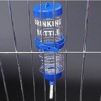 RaiFu ペットウォーターボトル ハンギング 水ボトル ディスペンサーフィーダー ドリップなし リークプルーフウォーターポット 2サイズ ハムスター モルモット ウサギ 犬用 80ml 青