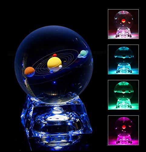 太陽系クリスタルボール 光るコースター付き 水晶玉80mm 太陽系おもちゃ 宇宙置物 八つ惑星 クリスタルプレゼント 友達、恋人に誕生日プレゼント贈り物 子供天文愛好家に向きホーム寝室オフィスの装飾などに最適