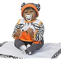 Nkol Reborn Dolls African American Lifelike新生児リアルな赤ちゃん人形おもちゃ、22インチ55 cmソフトビニール、重み付きベビーブラックヘア