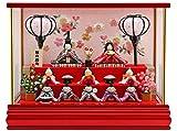 雛人形 リュウコドウ ちりめん ふっくら ひな人形 ケース飾り 十人飾り 丸金柱 キャンディーレッド ラインストーン 1.さくら カラー h2..