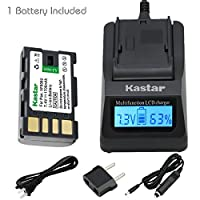 Kastar高速充電器キット、bn-vf808バッテリ(1パック)for JVC bn-vf808u、bn-vf815、bn-vf815u、bn-vf823、bn-vf823uとJVC DV、Everio gz-mg130、155、255、gz-mg555およびその他の指定されたビデオカメラ