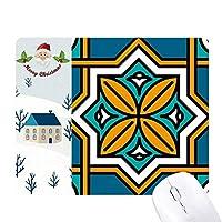抽象的な幾何学モロッコ風のパターン サンタクロース家屋ゴムのマウスパッド