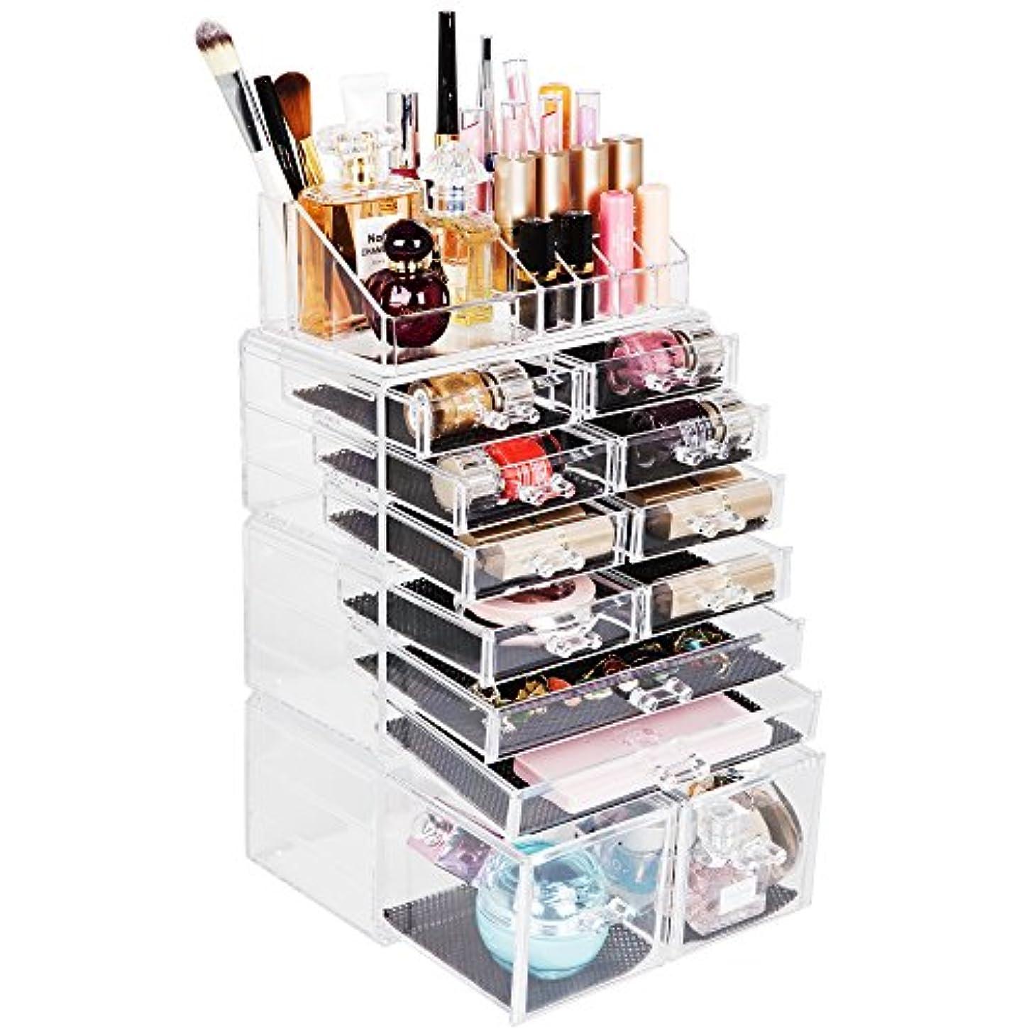 やめるうんざりデュアルReodoeer 化粧品収納ボックス メイクケース メイクボックス 化粧品入れ コスメ収納スタンド(透明)