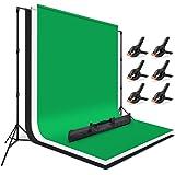 FotoFoto 撮影スタンド 200x230cm 背景布 180x280cm 緑 白 黒 3色 強力クリップ 6個付き 安定性がよい 写真撮影用 背景スタンド グリーンバック 白い布 暗幕 ポリエステル製 アイロンかけ可 バックグラウンド 撮影 背