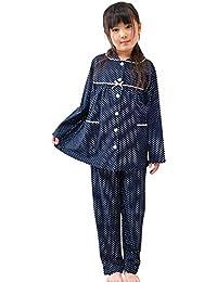 ケーズアイ 子供パジャマ女児用 綿100%ニット地ドット 前開きパジャマ 長袖?長パンツ 春?秋向き商品