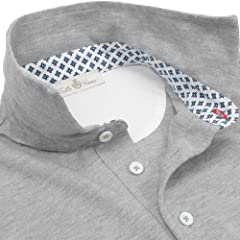 Della Ciana Flower Printed Collar Polo: Grey