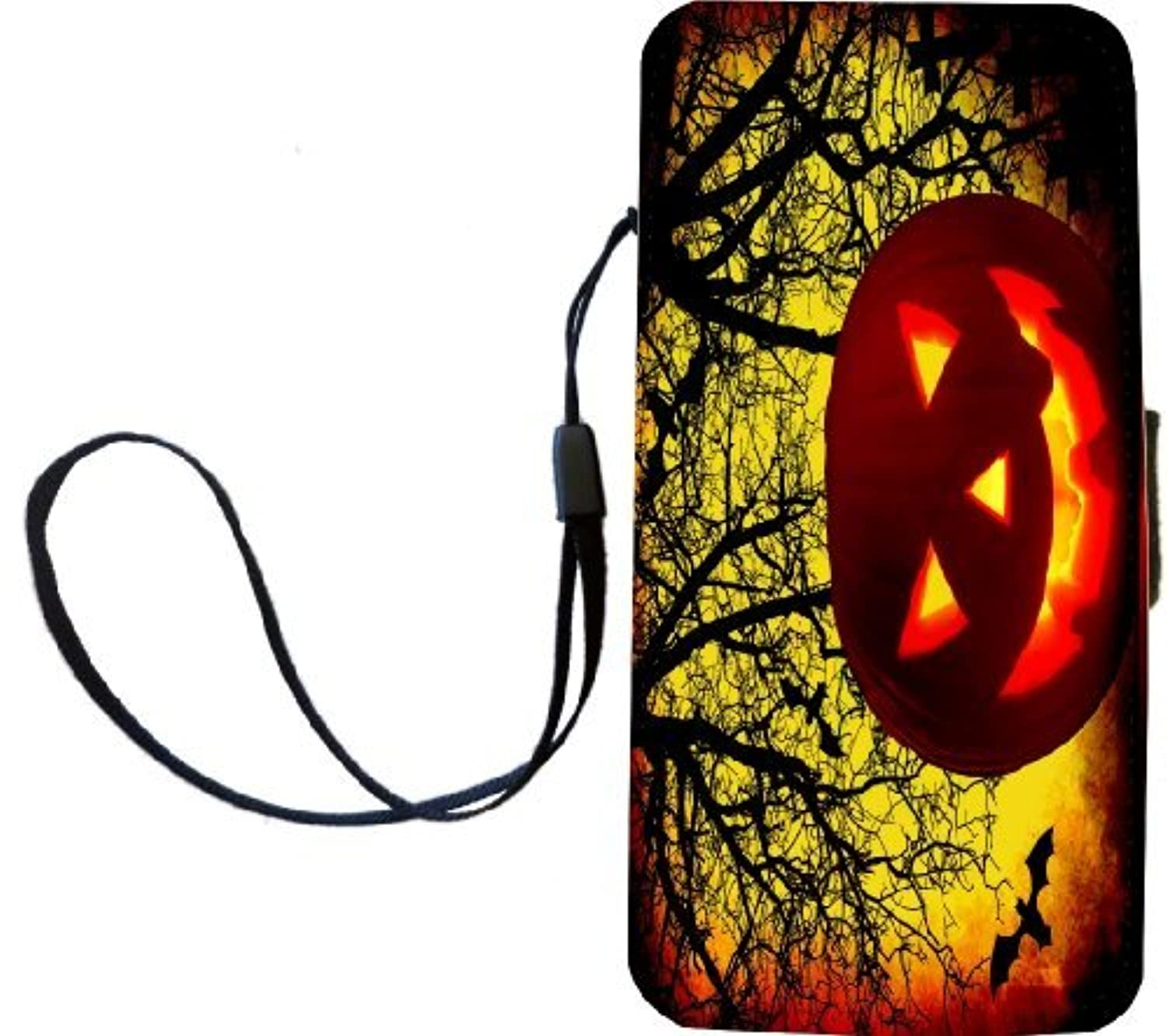 Rikki Knight Halloween Pumpkin on Yellow Tree Background Flip Wallet iPhoneCase with Magnetic Flap for iPhone 5/5s - Pumpkin on Yellow Tree [並行輸入品]