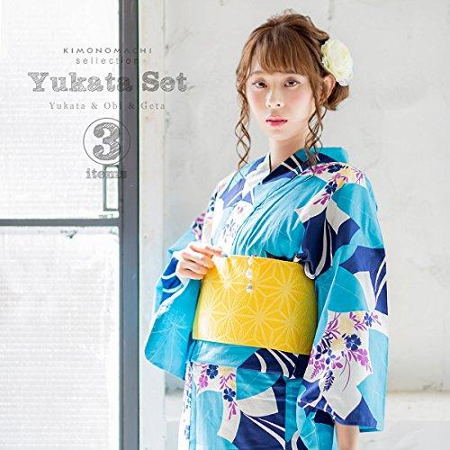 [ 京都きもの町 ] 女性浴衣3点セット 浴衣+帯+下駄 紺×水色 流水に楓 下駄フリーサイズ_GT-F_
