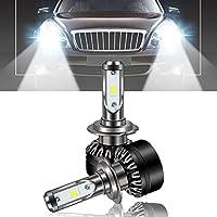 D6 - H7車のヘッドライトハイパワーLEDヘッドライトバルブ6500K車のヘッドランプ電球(カラー:シルバー&ブラック)