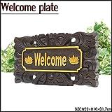 MANJA WOO-0431-D バリ雑貨 ドアプレート 10×20 (WELCOME) 木彫り プレート-D【 アジアン雑貨 ボード 看板 ドア アジアンテイスト 】