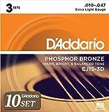 D'Addario ダダリオ アコースティックギター弦 フォスファーブロンズ Extra Light .010-.047 EJ15-3D 3set入りパック x 10セット 【国内正規品】