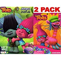 Dreamworks Trolls Lets Hug - Jumbo Colouring and Activity Book + Trolls Sticker Book (2 Pack)