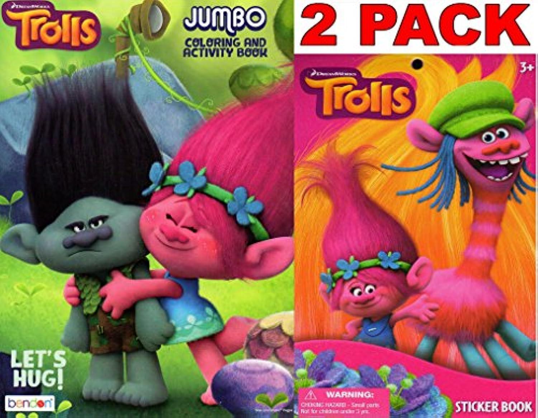 Dreamworks Trolls Lets Hug - Jumbo Colouring and Activity Book + Trolls Sticker Book (2 Pack)