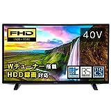 アイリスオーヤマ 40V型 液晶テレビ ハイビジョン テレビ ダブルチューナー内蔵 外付HDD対応(裏番組録画対応) 2019年モデル 40FA10P