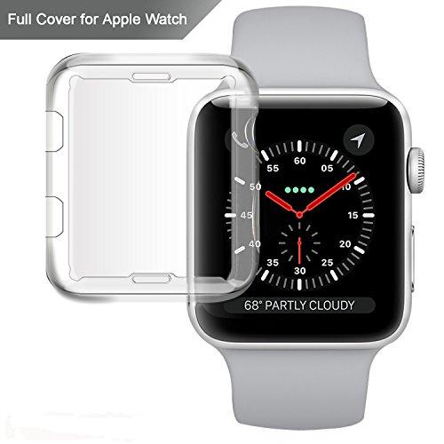Apple Watchケース, misxi Iphone Watch Tpu全周保護用0.3MM超薄型カバーHDクリアスクリーンプロテクターfor I watch MX-iwatch case 42mm