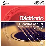 D'Addario ダダリオ アコースティックギター弦 フォスファーブロンズ Medium .013-.056 EJ17-3D 3set入りパック 【国内正規品】