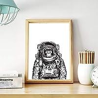 XKHSD 手描き猿宇宙飛行士キャンバスアートポスタープリント黒と白の壁アート画像キャンバス絵画ルームアート壁の装飾なしフレーム