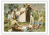 ハワイ先住民パウンディングポイ、ホノルル - T.H.ハワイのテリトリー - ビンテージなハワイの記念品のフォルダー によって作成された サウス・シーズ・クリオCo. c.1915 - 美しいポスターアート