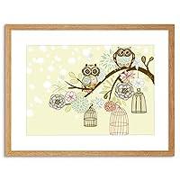 Painting Illustration Ornate Owls Tree Birdcage Framed Wall Art Print