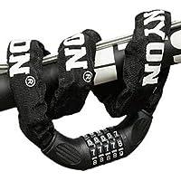 自転車ロック ダイヤル スチールロック チェーンロック[パスワード自由設定型] 防水 全長900mm断面径60mm 3色 堅固盗難防止 収納袋付き 日本語解説書付き「ファスト出荷店のショップ品質保証」