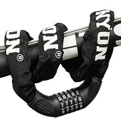 自転車ロック ダイヤル スチールロック チェーンロック[パスワード自由設定型] 防水 全長900mm断面径60mm 堅固盗難防止 (ブラック)