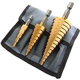 ステップドリル チタンコーティング 3本セット F0790