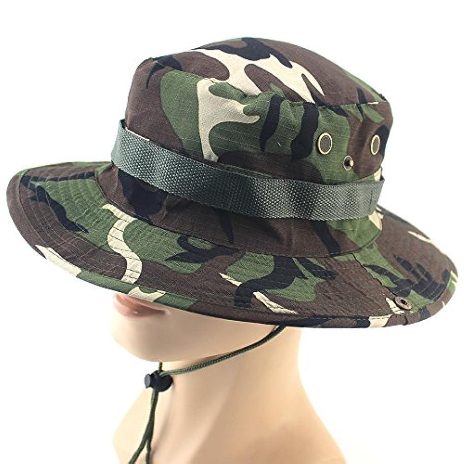 製品実現可能祈りFanmuアウトドアスポーツWide Brim Boonie Hat迷彩キャップ釣り帽子