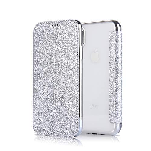 iPhone SE ケース iPhone5s ケース iPhone5 ケース 手帳型 クリア 背面 キラキラ 高級なPUレザー 薄型 透明 衝撃吸収 ブランド シンプル スマホケース 携帯カバー (iPhone SE/iPhone5/iPhone5s, 銀色2)
