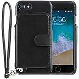 <iPhone8 iPhone7 / 新型> RAKUNI (ラクニ) 本革 背面フリップケース/財布いらず/便利な前面むきだし/ストラップ付き/スタンド機能 (ピュアブラック)