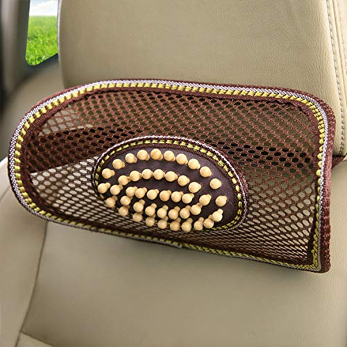 3色車の夏の木製ビーズヘッド背部腰サポートクッション車のオフィスチェアの枕のマッサージャー24.5 ...