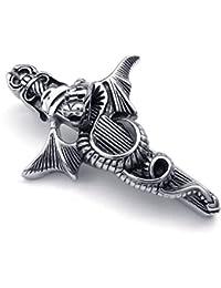 [テメゴ ジュエリー]TEMEGO Jewelry メンズステンレススチールヴィンテージゴシックペンダントドラゴンクロスネックレスチェーン、ブラックシルバー[インポート]