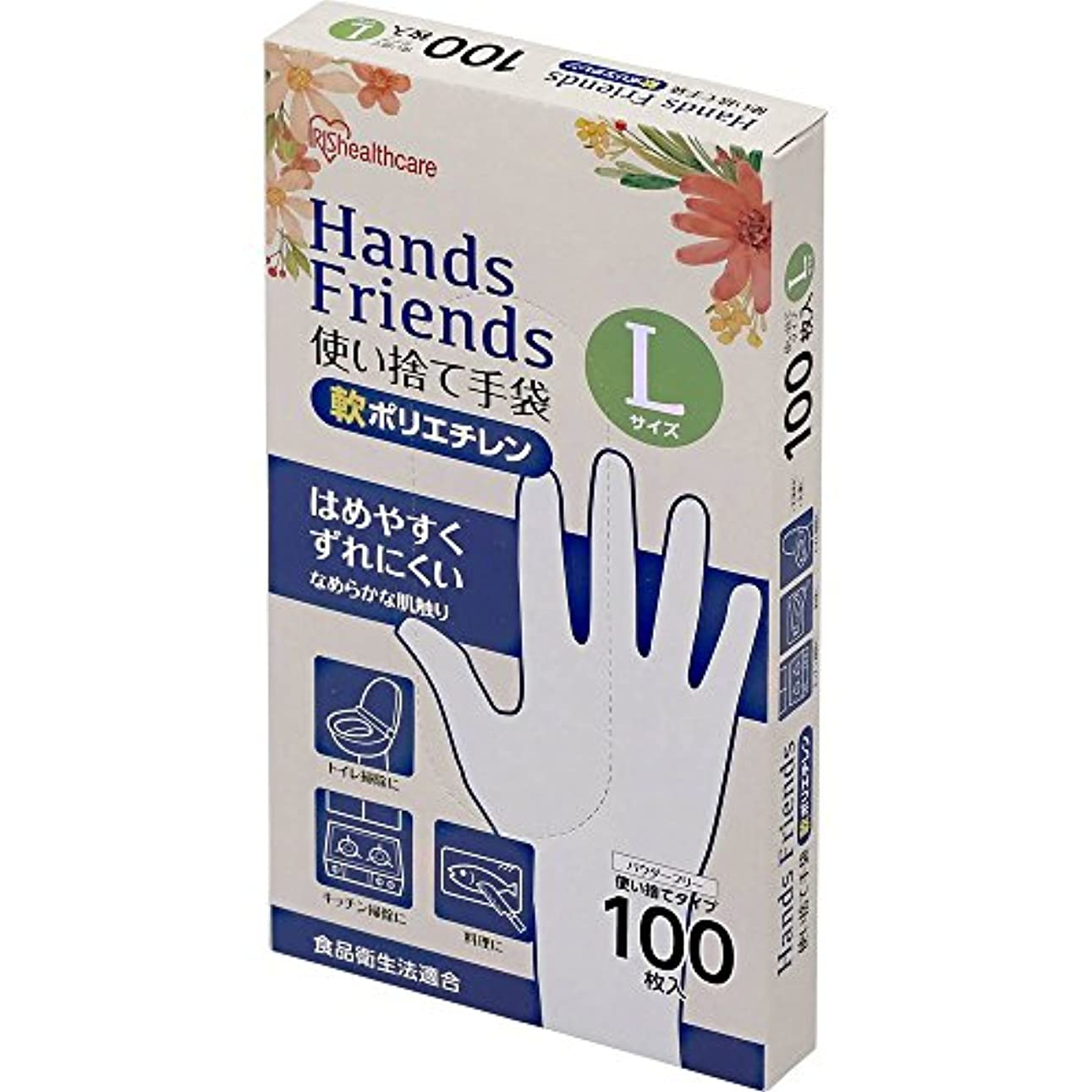 プランテーション満たす結婚する使い捨て手袋 軟ポリエチレン手袋 Lサイズ 粉なし パウダーフリー クリア 100枚入