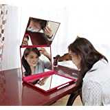マリンレッド 立体三面鏡 【卓上鏡】【三面鏡 卓上】 【白髪染め 鏡】 スリーウェイミラー