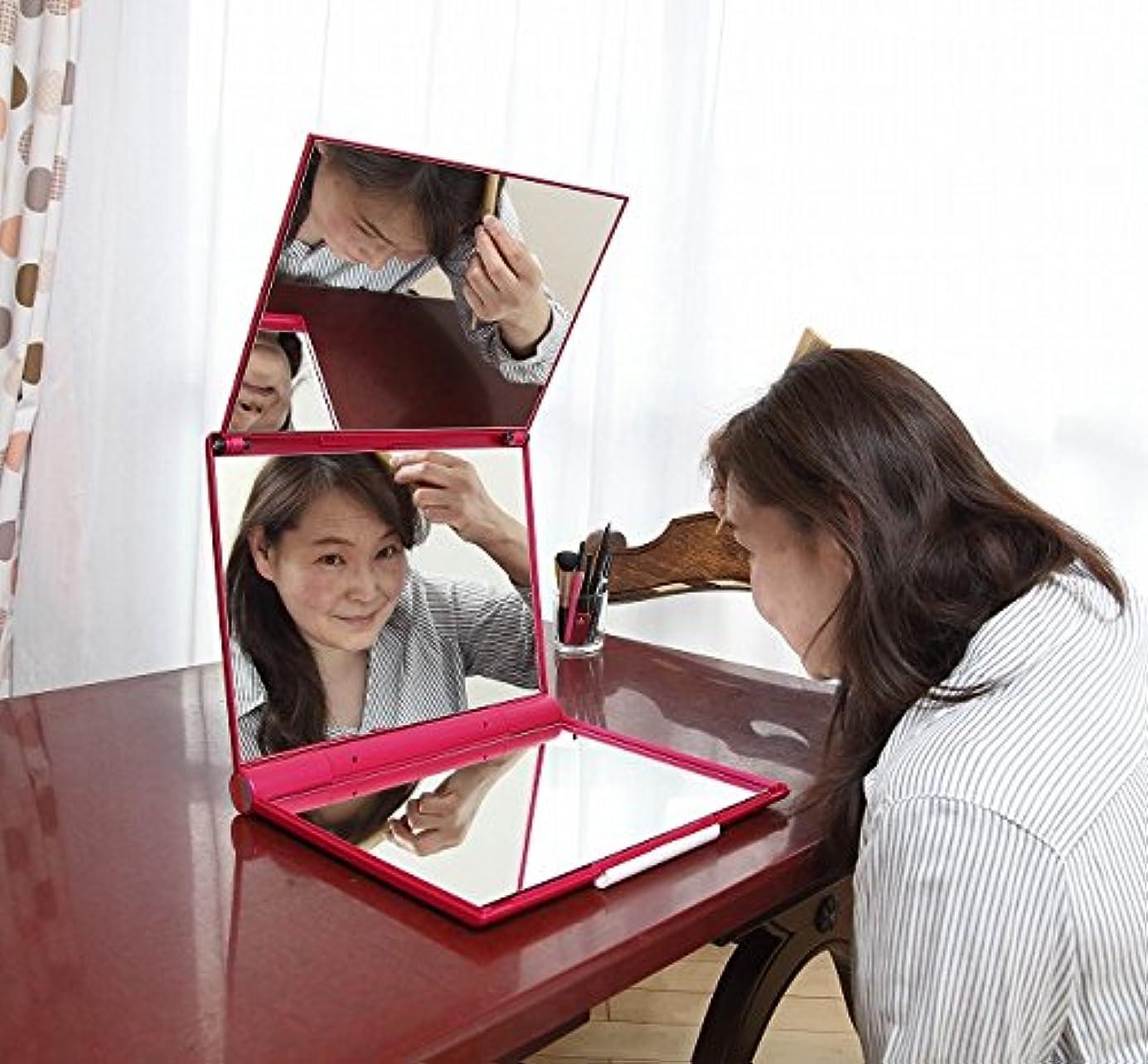 仕えるカテゴリーフレームワークマリンレッド 立体三面鏡 【卓上鏡】【三面鏡 卓上】 【白髪染め 鏡】 スリーウェイミラー