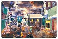 22cm x 30cmヴィンテージハワイアンティンサイン - タンブルウィードテロ - 大型タンブルウィズの侵略1989年 - オリジナルハワイ水彩画から によって作成された ペギー チュン