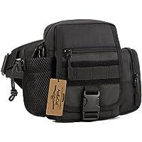 ArcEnCiel Multi Functional Waist Pack, Military Single Shoulder Hip Belt Bag Fanny Packs Water Resistant Waist Bag Pouch Hiking Climbing Outdoor Bumbag with Water Bottle Pocket Holder