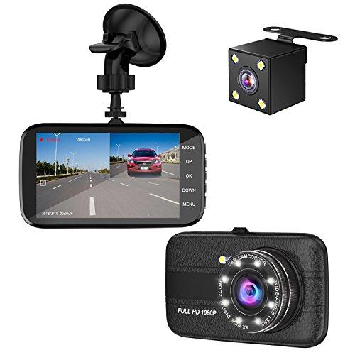 ドライブレコーダー 【2018最新版】 前後カメラ 4インチ 1080P フルHD 170度広角 SONYセンサー/レンズ 小型ドラレコ 8LED赤外線搭載IPS 防犯カメラ Gセンサー搭載 駐車監視 常時録画 デュアルドライブレコーダー