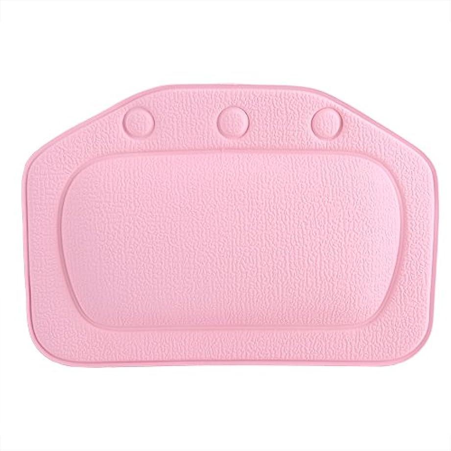 ドア制限緊張するスパバスピロー、ソフトフォームパッド付き人間工学に基づいたバスタブクッションピロー浴槽ヘッドレストヘッドネックバッククッションピロー(ピンク)