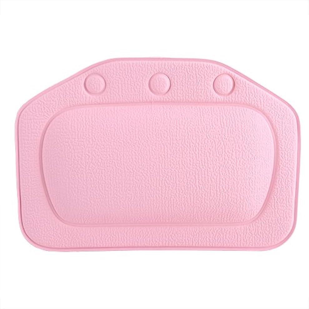 批評港懐疑的スパバスピロー、ソフトフォームパッド付き人間工学に基づいたバスタブクッションピロー浴槽ヘッドレストヘッドネックバッククッションピロー(ピンク)