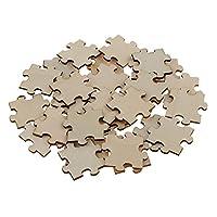 Prettyia 木製小物 木片 木製パズル 飾り 子ども 約50個入り