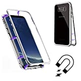 Samsung Note 8用磁気吸着ケース、SevenPanda Samsung Ggalaxy Note 8 クリアーメタルバック[メタルフレーム]フルボディスリムフィットウルトラシンケース、ラグジュアリー透明マグネットケース強化ガラス強化ガラス - 透明+ホワイト